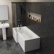 Designer Left And Right Hand L Shaped Shower Bath Tub 1500 1600 1700 Shower Screen