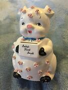 Vintage Rubens Planter Babyand039s First Bank Piggy Bank White Pig Pink Roses 6.75