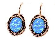 Antique Vintage Victorian Style Design Rose Gold Earring With Opalite Stone.