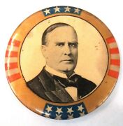 1896 - 1900 Mckinley President Large 2 Pinback Button With Back Paper