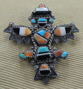 Best Zuni Knifewing Pin Attr Ike Wilson Mosaic Inlay Turquoise Jet Mop 1940s-50s