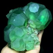 1526g Larger Particles Dark Green And Translucent Trapezoidal Fluorite Specimen