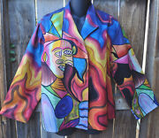 Dilemma Hand Painted Picasso Inspired Silk Art To Wear Lined Short Jacket