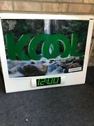 Used Kool Cigarette Tobacco Neon Sign With Clock And Moving Waterfall
