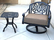 Patio Set Of 2 Cast Aluminum 1 Swivel Club Chair And Elisabeth End Table.