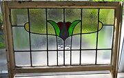 Antique Leaded English Stained Glass Window Wood Frame England Old House 21
