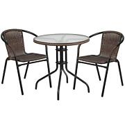 Patio Furniture Set Table And 2 Chairs Bistro Set Garden Deck Porch Wicker Seat