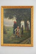 18th/19th Cent Flemish - Dutch Theme Painting Signed A Mid Day Rest