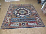 12and0393 X 14and0399 Hand Knotted Egyptian Geometric Blue Mamluk Fine Oriental Rug G5858