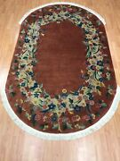 4and03910 X 8and039 Antique Oval Chinese Art Deco Oriental Rug - 1930s - Hand Made