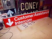 Ny Nyc Subway Sign Customer Assistance Porcelain Emergency Vintage Collectible