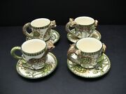 Ardmore Ceramic Art Leopard Cups And Saucers / Sets Of 4 / Excellent