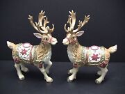 Fitz And Floyd Father Christmas Reindeer Candle Holders Pair Set Large