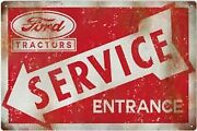 Vintage Style Metal Sign Ford Service Tractor Entrance Country 18x30