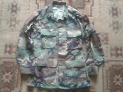 Us Navy Seabee Woodland Camo Bdu Shirt Embroidered Seabees Emblem And Rank Badge