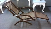 Antique Folding Luxury Wood And Cane Steamer Deck Chair Circa 1890 England