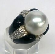 18k White Gold Ring With Diamond Onyx And 14 1/2 Mm South Sea White Pearl