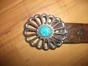 A. Henry Sterling Silver Turquoise Belt Buckle W/ Leather Belt For Men Or Women