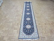 2and0398 X 18and0391 Runner Hand Knotted Blue Persian Nain With Silk Oriental Rug G6756