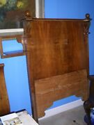 Antique Walnut French Bed With Candle Holder To One Side.