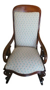 Antique Mahogany Brown Victorian Rocking Chair Wood And Fabric 1800-1899 England