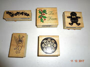 Assorted Lot Of 5 Wood Back Rubber Stamps - Winter Holiday Christmas Ivy Angel