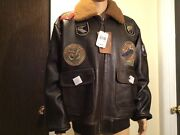 Mens Schott G1 Wings Of Gold Leather Bomber Jacket/ Size 2xl- Antique Color