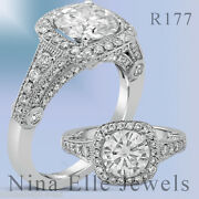 8mm Round Cut Antique Style Moissanite And Diamond Engagement Ring R177