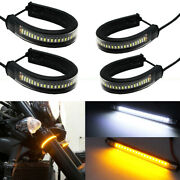 4x Switchback W/a Fork Led Daytime Light Strips Turn Signal Drl For Motorcycle