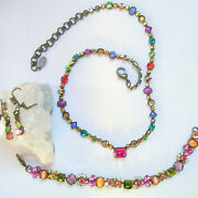 Sorrelli Necklace, Bracelet And Earrings Set Brights Floral Rare Retired