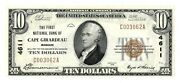 Cape Girardeau Missouri Mo 10 National Bank Note 1929 Series Ty 1 Ch 4611