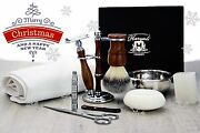 Luxury Men's Grooming Kit With De Safety Razor Perfect Gift 4 Him 10 Pieces