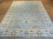 9 X 12 Hand Knotted Light Blue Fine Oushak Oriental Rug Vegetable Dyes G2035