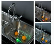 Chrome Clour Led Pull Out Kitchen Spring Sink Faucet Mixer Tap