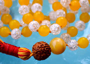 Yellow Jade, Crystal Quartz And Rudraksh Hand Knotted Mantra Mala Beads Necklace -