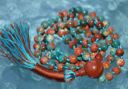 6 Mm Multicolored Fall Mala Beads, Rare Fossil Beads And Red Jasper Mantra Beads