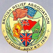 Scarce Wwi 1916 British War Relief Colorful 1.5 Pinback Button Home Front +