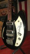 Vintage Circa 1969 Teisco May Queen Model Electric Solid Body Guitar Black Cool