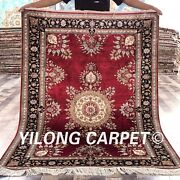 Yilong 4and039x6and039 Bright Red Handmade Silk Carpet Home Office Rug H22a