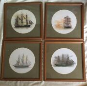Lot Of 4 Framed Matted Vintage Mads Stage Nautical Print. Georg Stage Ship. Boat