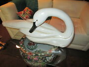 Ethan Allen White Solid Wood Swan Statue Hand Carved