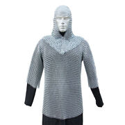 Battle Ready Medieval Habergeon Chainmail Knights Crusader Armor Coif Set