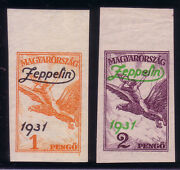 Hungary / Ungarn 1931 Zeppelin Michel 478-479 Imperforated | Mnh | Very Scarce