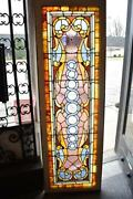 Victorian Stained Glass And Jeweled Transom Window With Beveled Glass 24 1/2 X 76