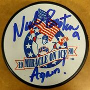 Neal Broten Autographed 1980 Miracle On Ice Usa Puck Again 7/80 Herb Brooks