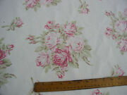 Shabby Cottage Chic Falling Roses Faded Pink Cabbage Rose Vanilla Barkcloth