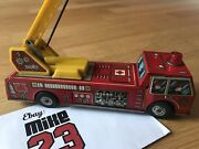 Vintage 1960 Yone Japan Tin Toy Fire Truck Wind Up Mechanical Tin Toy