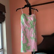 Lily Pulitzer Tie Back Dress Nwot Pink Green Xs 00