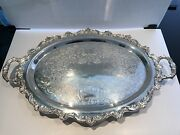Vintage Towle Silverplate X-large Footed Oval Serving Tray With Handles - Usa
