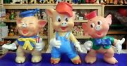 Vintage Rubber Toy Squeak Three Little Pig Disney Ledra Made In Italy 1960s